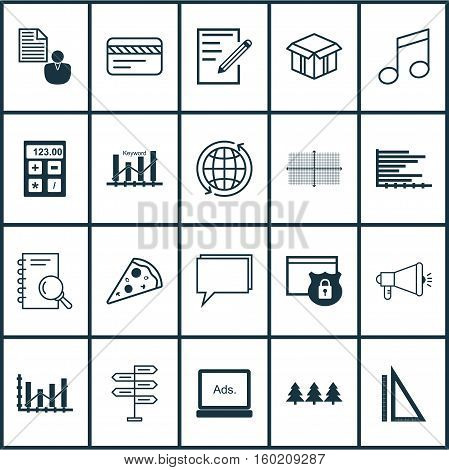 Set Of 20 Universal Editable Icons. Can Be Used For Web, Mobile And App Design. Includes Elements Such As Digital Media, Conference, Keyword Optimisation And More.
