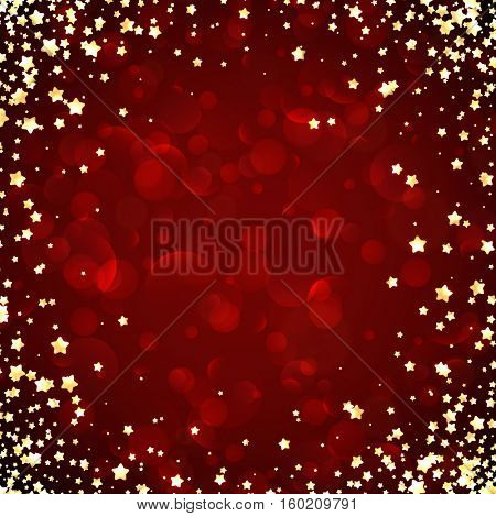 Red festive background with yellow stars. Vector illustration.