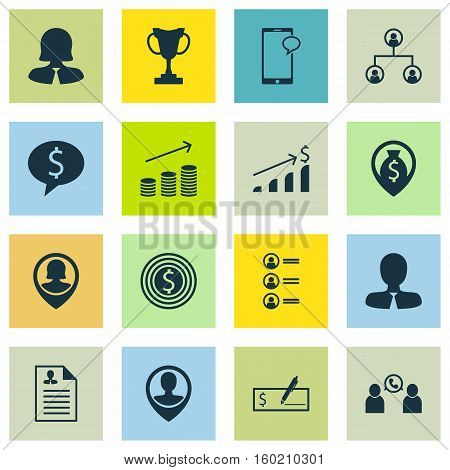 Set Of 16 Human Resources Icons. Can Be Used For Web, Mobile, UI And Infographic Design. Includes Elements Such As Mobile, Organisation, Structure And More.