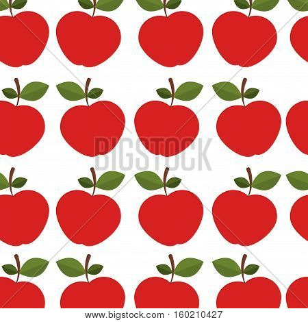 colorful pattern of apples with stem and leafs vector illustration