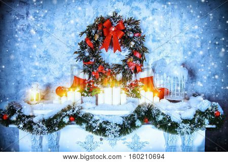Home interior. A room with a fireplace. Beautifully decorated for Christmas holidays.