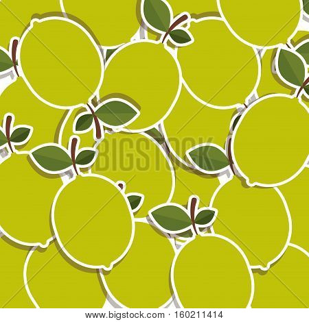 silhouette colorful pattern of lemons with stem and leafs vector illustration
