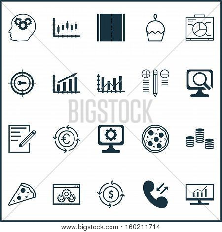 Set Of 20 Universal Editable Icons. Can Be Used For Web, Mobile And App Design. Includes Elements Such As Money, Pizza Meal, Photo Camera And More.