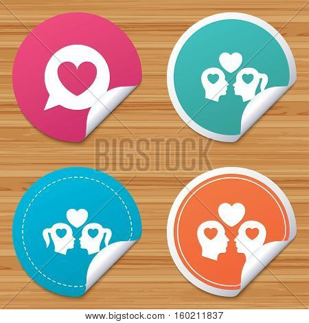 Round stickers or website banners. Couple love icon. Lesbian and Gay lovers signs. Romantic homosexual relationships. Speech bubble with heart symbol. Circle badges with bended corner. Vector