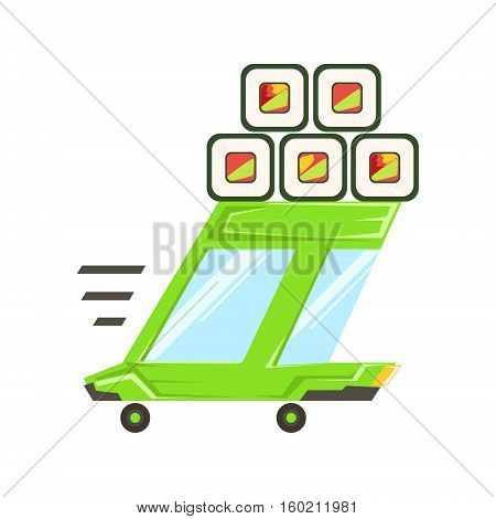 Fast Delivery Service Green Car With Japanese Sushi Rolls On The Roof Going To Deliver Food. Cartoon Vector Illustration From The Collection Of Asian Food Takeout Company Process Of Office And Home Food Delivery.