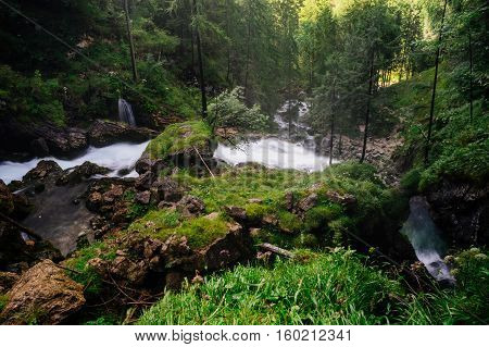 Gollinger waterfall from above view Salzburg land Austria