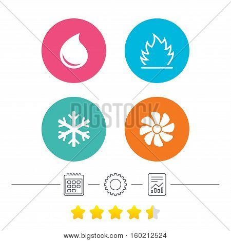 HVAC icons. Heating, ventilating and air conditioning symbols. Water supply. Climate control technology signs. Calendar, cogwheel and report linear icons. Star vote ranking. Vector