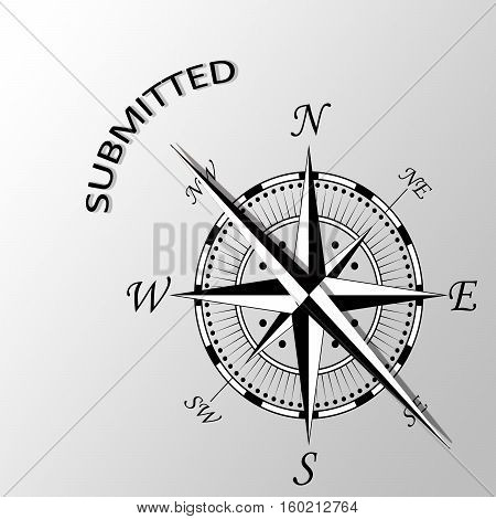 Illustration of Submitted written aside a compass