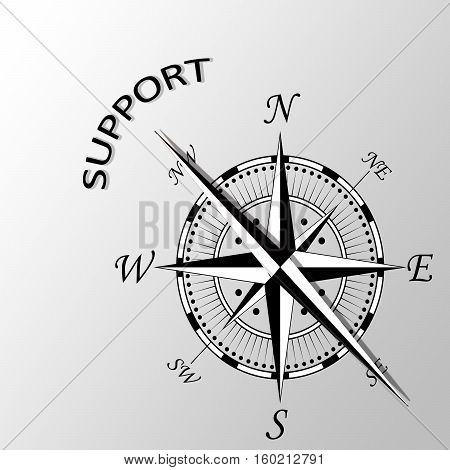 Illustration of Support written aside a compass