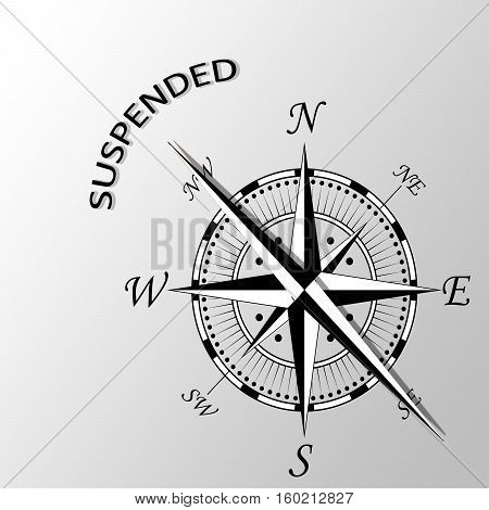 Illustration of suspended word written aside compass