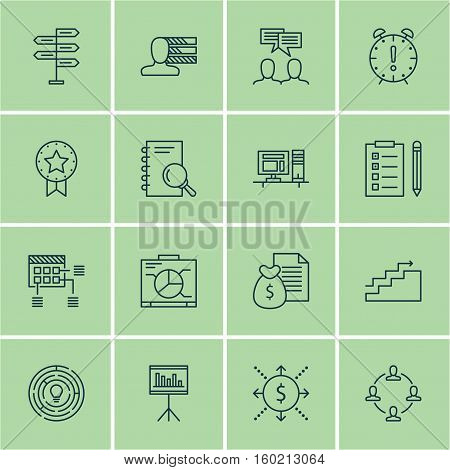 Set Of 16 Project Management Icons. Can Be Used For Web, Mobile, UI And Infographic Design. Includes Elements Such As Revenue, Personal, Deadline And More.