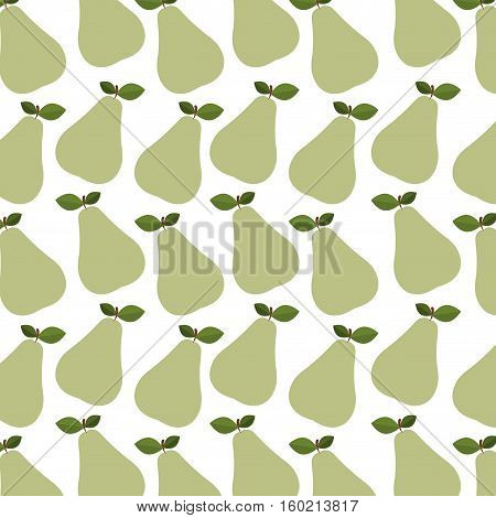 colorful pattern of pear with stem and leafs vector illustration