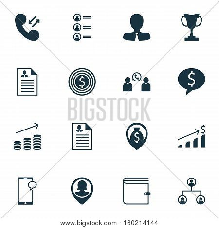 Set Of 16 Hr Icons. Can Be Used For Web, Mobile, UI And Infographic Design. Includes Elements Such As Mobile, Purse, Employee And More.
