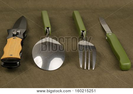 set of marching instruments on the table dark green