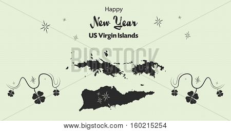 Happy New Year Illustration Theme With Map Of Us Virgin Islands