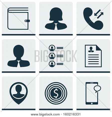 Set Of 9 Management Icons. Can Be Used For Web, Mobile, UI And Infographic Design. Includes Elements Such As Employee, Goal, Applicants And More.