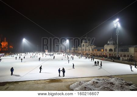 BUDAPEST, HUNGARY - DECEMBER 15, 2015: City Park ice rink in Budapest, Hungary. It is Europe's largest outdoor ice rink.