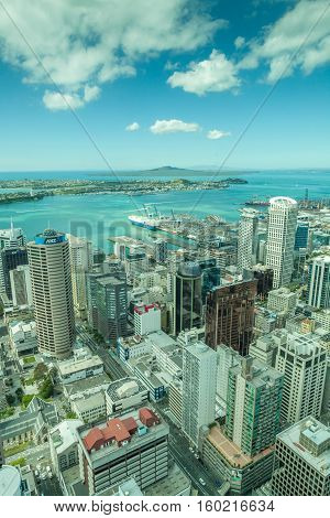 Auckland New Zealand- December 12 2013. Auckland city from the top of sky tower.