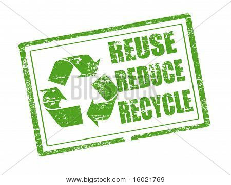 Reuse, Reduce And Recycle Stamp
