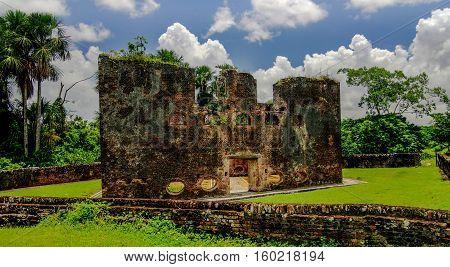 Ruins of zeeland fort on the island in Essequibo delta Guyana