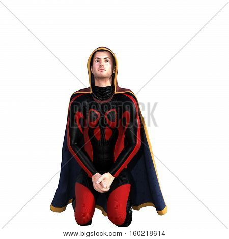 One young man in a super suit and a red cloak. He sits on his knees and leaned his head back. 3D rendering, 3D illustration