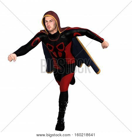 One young man in a super suit and a red cloak. He runs next to the camera. 3D rendering, 3D illustration