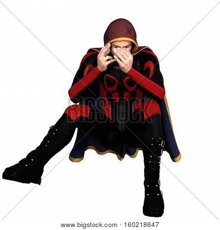 One young man in a super suit and a red cloak. He sits on the floor and hides his face with his hands. 3D rendering, 3D illustration
