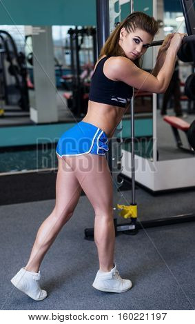 Athletic Muscular Young Woman Doing Workout In Gym.