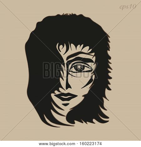 The man's face picture Author design head boy hair develop eye mouth nose sketch eyebrow contour fringe handmade abstract portrait Stock eps10 vector illustration