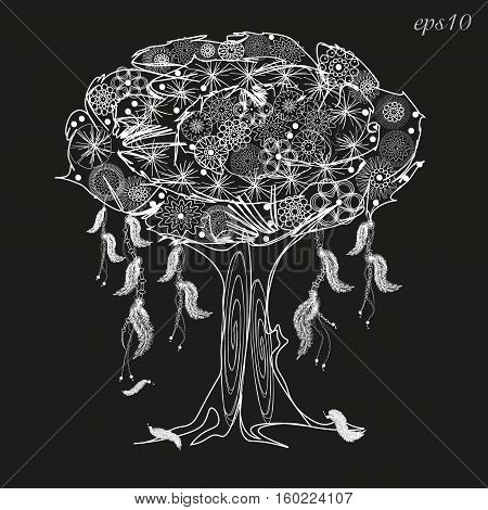 White tree wish graphics Abstract design author openwork decoration on body painting henna plant roots bark crone flower pen barrel fantasy style vector illustration eps10 stock
