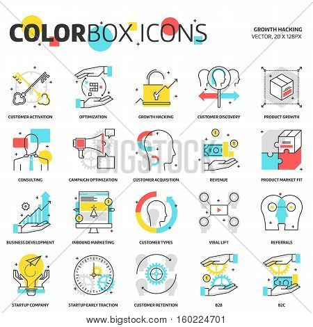 Color Box Icons, Growth Hacking Concept Illustrations