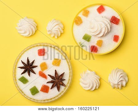 Sweets On Yellow Background