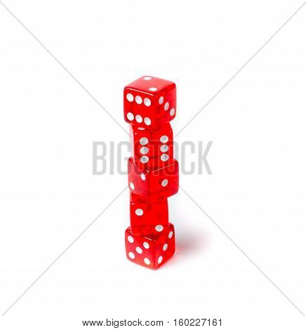 Isolated red dice on a white background