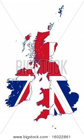 Union Jack Flag On Uk Map