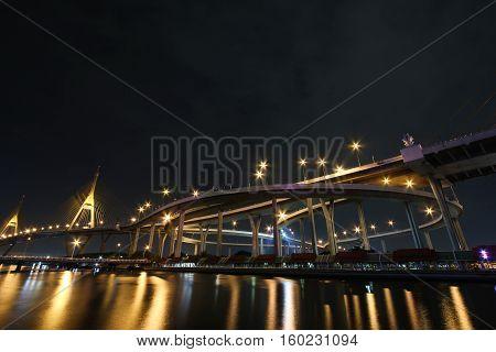 Bhumibol Bridge in Thailand or the Industrial Ring Road Bridge in evening scene of sunset scenery mood.