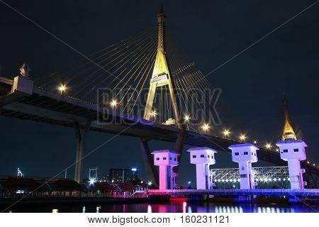 Bhumibol Bridge in Thailand,The bridge crosses the Chao Phraya River twice.