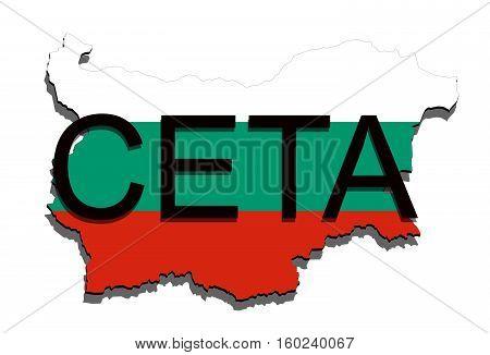 Ceta - Comprehensive Economic And Trade Agreement On White Background, Bulgaria Map