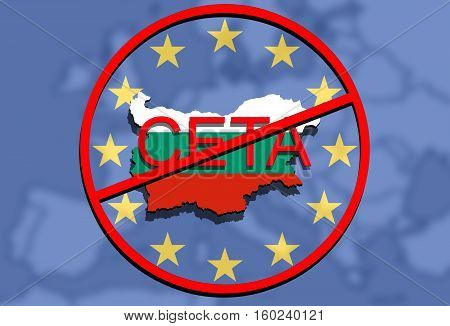 Anty Ceta - Comprehensive Economic And Trade Agreement On Euro Uion Background, Bulgaria Map