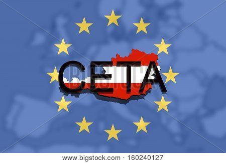 Ceta - Comprehensive Economic And Trade Agreement On Euro Union Background, Austria Map