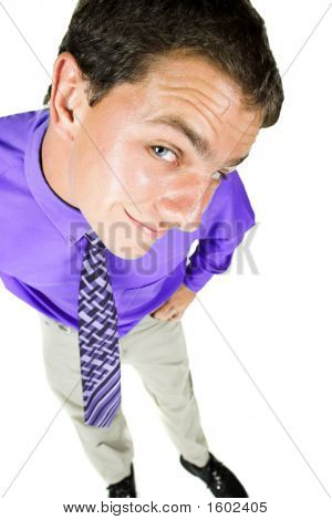 Young Adult Businessman With Distorted Perspective