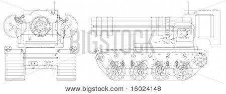 Drawing A Self-propelled Heavy Machine Gun