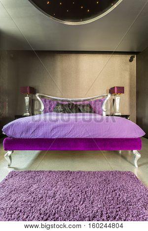 Bed In Extravagant Silver Bedroom