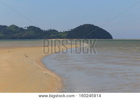 Beach appear when water down at Mod Tanoy Beach in Kantang of Trang Thailand