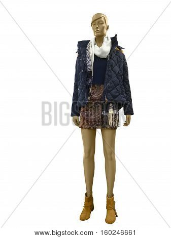 Full-length female mannequin dressed in blue warm jacket. Isolated on white background. No brand names or copyright objects.