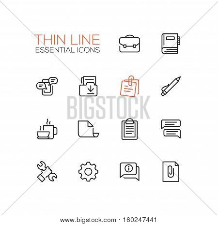 Business, Office - modern vector thin line design icons, pictograms set. Briefcase, notebook, message, folder, memo, coffee, clipboard, document speech bubble work tool cog information attachment