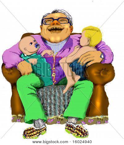 Homem e crianças