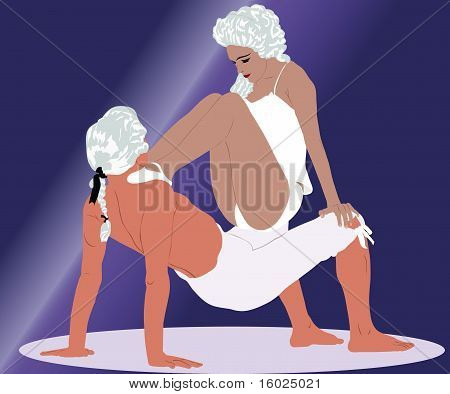dancing couple in white wigs