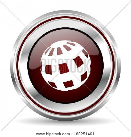 earth icon chrome border round web button silver metallic pushbutton