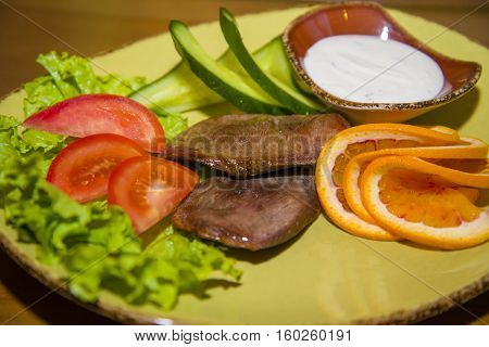 Delicacy Beef Tongue With Fresh Vegetables.