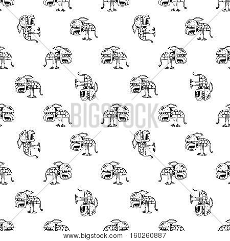 Conversational seamless pattern design with tribal demon drawing motif in black and white colors